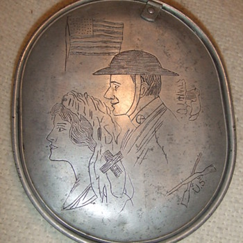 WW1 Trench Art mess kit with patriotic theme