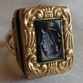 Intaglio Glass Mourning Locket Fob Ring 10K - Fine Jewelry
