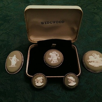 Sage & Silver Wedgwood Pins and Ear Clips - China and Dinnerware