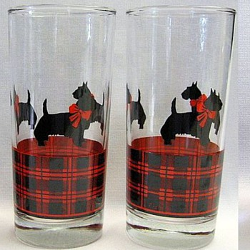 Anchor Hocking Scotty Dog Plaid Tumblers - Glassware