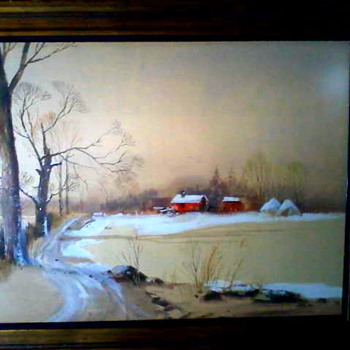 "Fred Leach ""Winter Landscape""/Watercolor on Buff Colored Paper 29""x37"" Framed / Circa late 1960's-1970's - Visual Art"