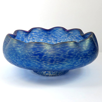 Bohemian Iridescent Mottled Blue Bowl - Art Glass