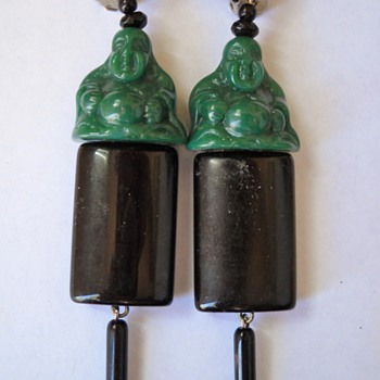 Vintage Clip Dangle Faux Jade Buddah & Deco Dangle Earrings - Costume Jewelry
