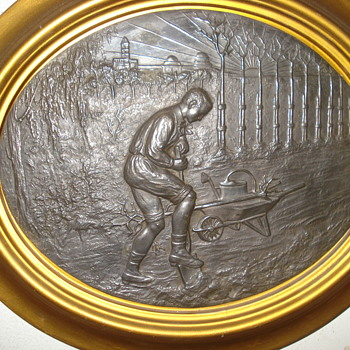 Happy May Day or International Workers Day: two exquisite antique metal plaques - Victorian Era