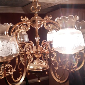 older brass and 6 light crystal cover - Lamps
