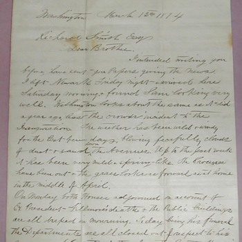 March 12, 1874 letter Re: President Millard Fillmore 's Funeral - Paper