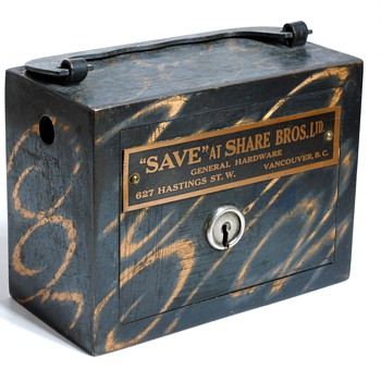 "Promotional Advertising Steel Bank""Share Bros,Ltd, Vancouver, BC, Circa 1900"