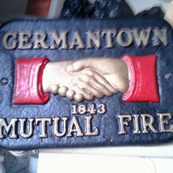 FIRE MARK Germantown Mutual Fire Insurance Company Cast Ironl Marker PLAQUE  - Firefighting