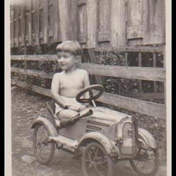 A BOY & HIS PEDAL CAR, CIRCA 1954, TOKYO, JAPAN