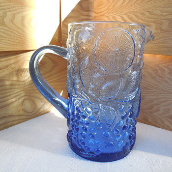 Molded Glass Water Pitcher with fruit pattern and applied handle - Kitchen