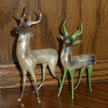 My favorite vintage Mercury glass hand blown deer figurines.