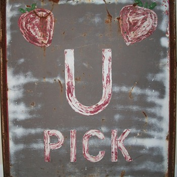Giant Strawberry Sign U PICK in old paint Collection Jim Linderman - Folk Art