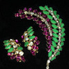 Sherman Rare Brooch and Earring set, Multicolour Stones, Book Piece