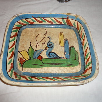 Vintage Painted Clay Bowl - Pottery