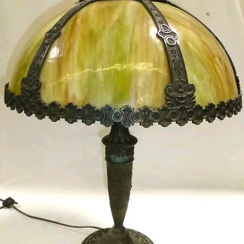 Salem Brothers slag glass lamp