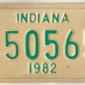 1982 - Motorcycle License Plate (Indiana) - Classic Cars