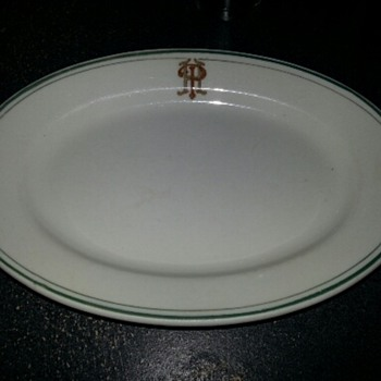 Hotel Platter?  Vintage Green Striped Albert Pick & Company Platter - China and Dinnerware