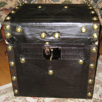 Searles & Edge Embossed Leather Covered Hat Trunk - Furniture
