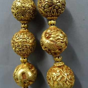 Antique silver gilt repousse beads necklace Dragons and floral! - Asian