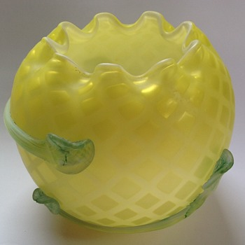 Diamond quilted satin glass rose bowl with applied decoration - likely a repro item