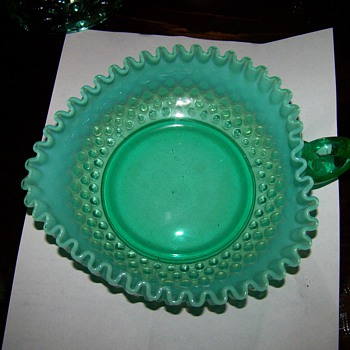 Fenton Hobnail Heart Shaped Handled bowl - Glassware