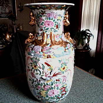 Hand Painted Chinese Vase /Floral with Birds and Imperial Court Scene with Gilt Handles/Macao Circa 1960-70