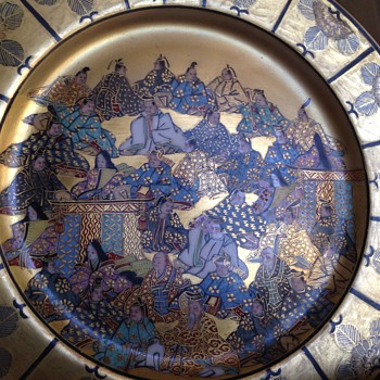 Interesting stamp/marks. Hand painted Japanese large plate - beautiful colors - Asian