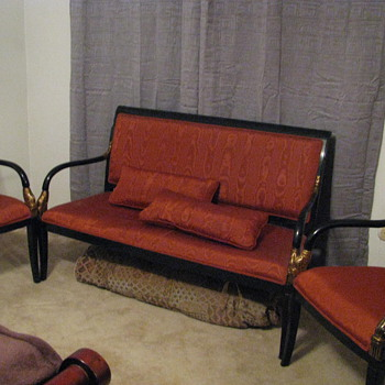 3-Piece Black Japanned or Lacquer seating set. - Furniture