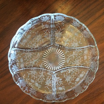 Vintage Divided Dish etched floral