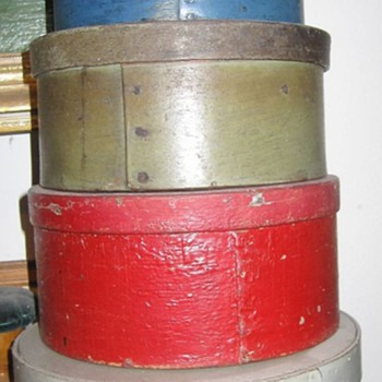 Mystery Oval Painted Shaker Primitive Paintry Box Stack New England Fingered