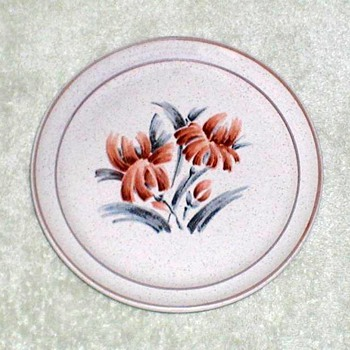 Stoneware Plate with Floral Design