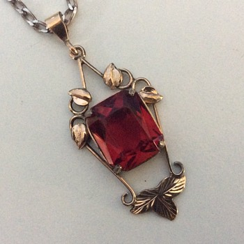 Ruby faced garnet pendant
