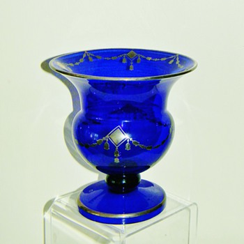 Deco Loetz Cobalt Silver Overlay Footed Compote Vase 7""