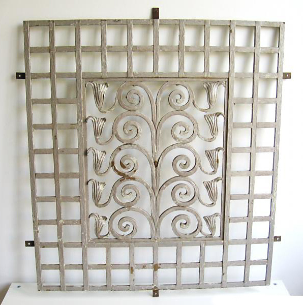 Wiener secessionist style wrought iron window grille