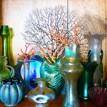 Bohemian glass and coral display - Art Glass
