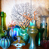 Bohemian glass and coral display