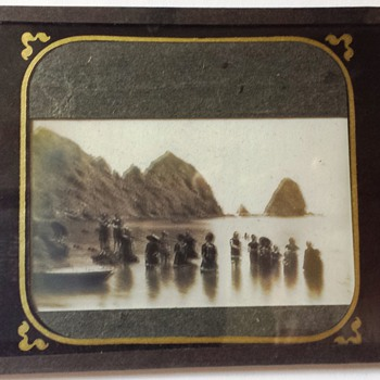 Unknown Location 1800'S Glass Plate Negative California Coast Sun Bathers