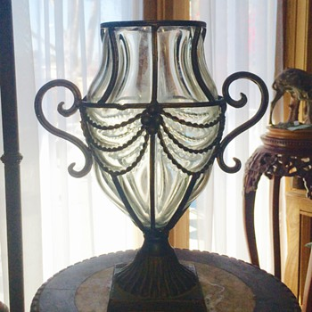 Antique French Glass Caged Mounted Footed Vase - Art Glass