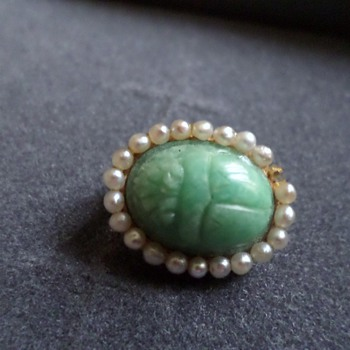 14 Karat Gold Scarab And Seed Pearl Pin