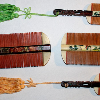 Asian Combs? Handpainted wood with bone? - Asian