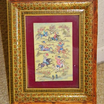 Vintage Hand Painted Polo Tile Horsemen Help INDIA Inlaid MOP Framed - Animals