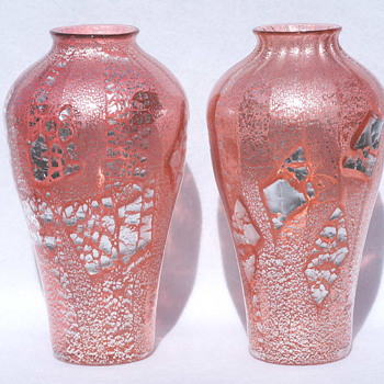 Loetz Rosa Argentan Pair  ca. 1908 - Likely My Greatest Glass Find Ever!! - Art Glass