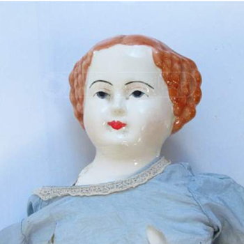 "Antique China Doll 22"" red hair"
