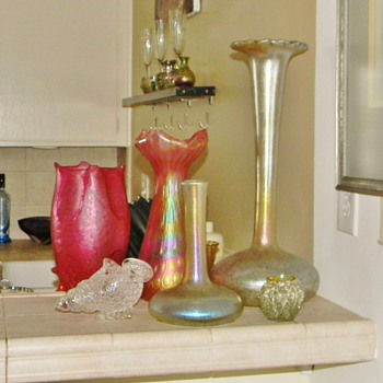 My Loetz Papillon, Shell, PK Frit, Rindskopf & Kralik on My Breakfast Bar  - Art Nouveau