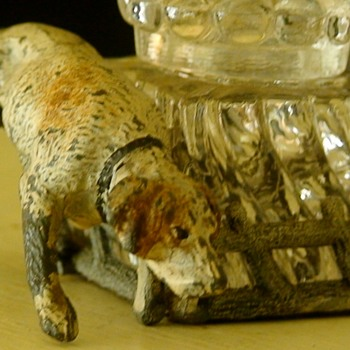 Glass Inkwell With Metal Dog