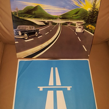 "Kraftwerk Autobahn 12"" LP on WB black/silver label with blue white icon sleeve (Sterling Sound? Edition?) - Records"