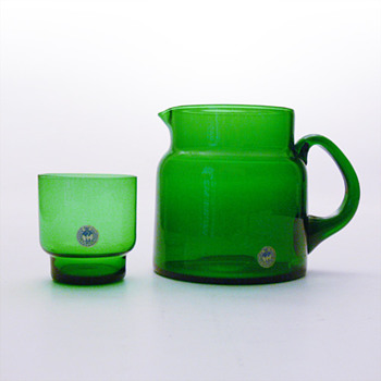 Jug and glass in AEDELGRON colour, Per Lütken (Holmegaard, ca. 1959) - Art Glass