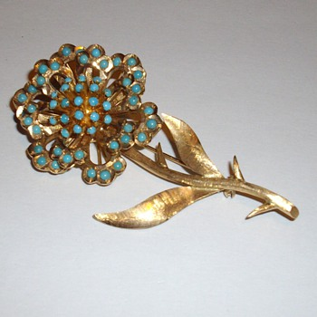 Antique turqoise and gold brooch - Fine Jewelry
