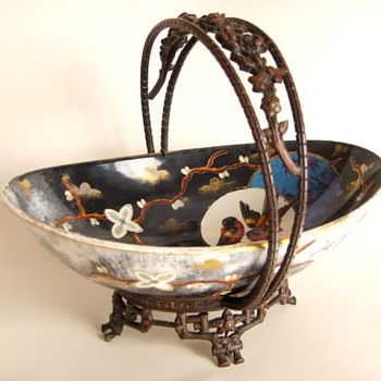 Large Hand Painted Victorian Dutch Pottery with Gilded Bronze Basket