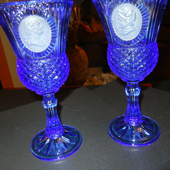 Tall blue glass Cameo? - Glassware